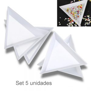SET PLATO TRIANGULAR PIEDRERIA - 5 PCS.