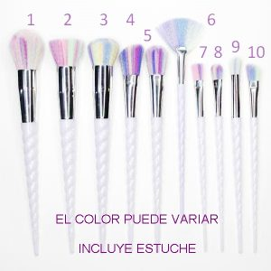 SET PINCEL MAQUILLAJE UNICORNIO - 10 PCS.